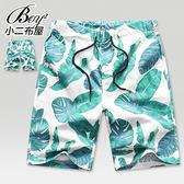 海灘褲 休閒短褲 棕梠葉滿版抽繩麻紗五分褲【NQ91817】