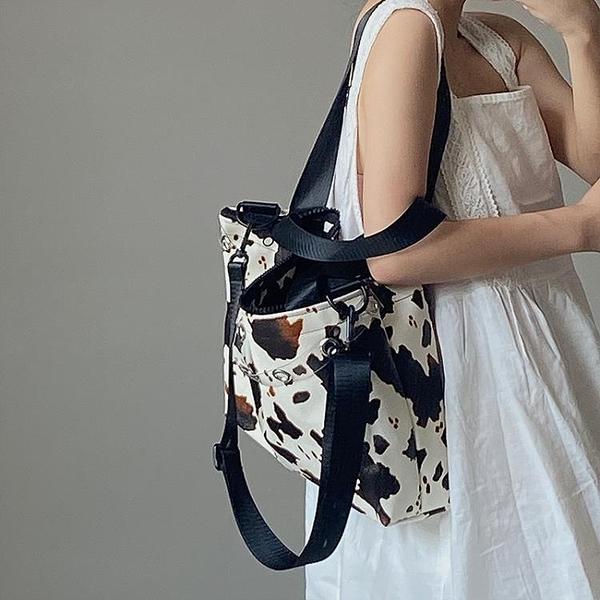 鹿子 小眾設計奶牛紋大容量手提女包INS大熱單肩斜跨大包托特包4 幸福第一站