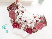 流光溢彩夏刺繡網紗性感內褲女蕾絲透明大碼低腰速干三角褲純棉襠     花間公主