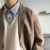 秋裝港味CHIC復古西裝外套男寬鬆簡約韓版潮流ulzzang上衣夾克男