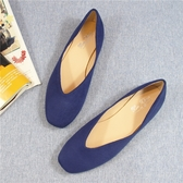 六月芬蘭方頭V口絨布素面平底鞋奶奶鞋包鞋女鞋娃娃鞋藍色(31小尺碼-44大尺碼)現貨