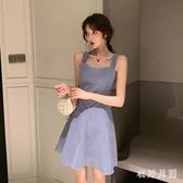 吊帶洋裝 小個子桔梗法式長裙腳踝仙氣森系氣質茶歇約會吊帶連身裙子 JX368【衣好月圓】