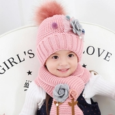 兒童套裝帽子加圍巾冬季女童帽子公主時尚甜美花朵小孩加絨保暖帽