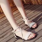 低跟涼鞋女夏全館免運交叉綁帶復古羅馬鞋一字扣學生平底涼鞋