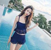 溫泉泳衣女分體顯瘦遮肚性感韓國兩件套保守小胸聚攏蕾絲游泳衣 芥末原創