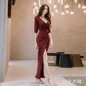 修身宴會洋裝 新款性感女裝修身包臀名媛開叉裙禮服長裙 QQ8467『MG大尺碼』