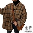 EASON SHOP(GW4167)韓版撞色格紋磨毛前排釦長版OVERSIZE毛呢長袖襯衫外套格子女上衣服寬鬆空調衫