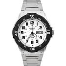 CASIO手錶 黑白軍裝銀帶鋼錶NECE23