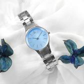 CK / K432314N / 珍珠母貝 簡約典雅 藍寶石水晶玻璃 瑞士製造 不鏽鋼手錶 藍色 28mm