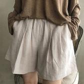漂亮小媽咪 韓系棉麻短褲 【P0012】 原創 文藝 棉麻 薄款 純色 休閒 短褲 褲裙 裙褲