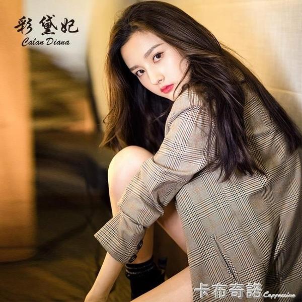 新款韓版女裝修身顯瘦休閒西服格子商務小西裝外套