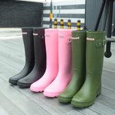 英倫經典高筒防水雨靴女士膠鞋水靴女水