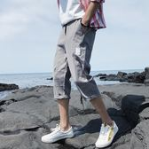 夏季7分褲休閒短褲男寬鬆馬褲五6分中褲子男日韓潮流修身薄七分褲 森雅成品