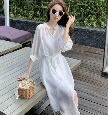 洋裝 中長款法式溫柔風襯衫裙連身裙女夏季白色吊帶裙子氣質兩件套紅粉佳人