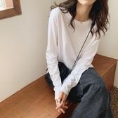 时尚長袖 白色長袖T恤女寬鬆顯瘦圓領正韓棉質打底衫2020春款純色內搭上衣 【免運86折】