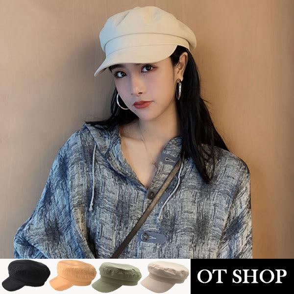OT SHOP帽子 素面春夏棉質 軍帽 平頂帽 穿搭配件 實拍實穿 黑色 駝色 淺橄欖綠 現貨 C2080