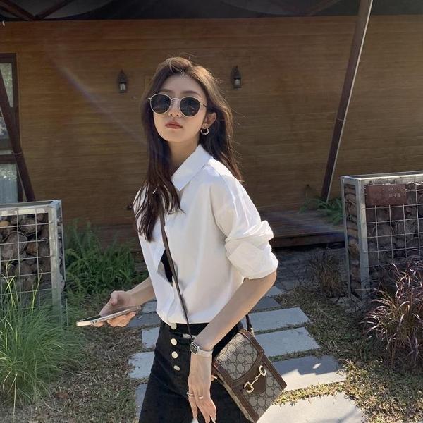 襯衫 女設計感小眾春新款韓版寬松百搭純色長袖疊穿襯衣【牛年大吉】
