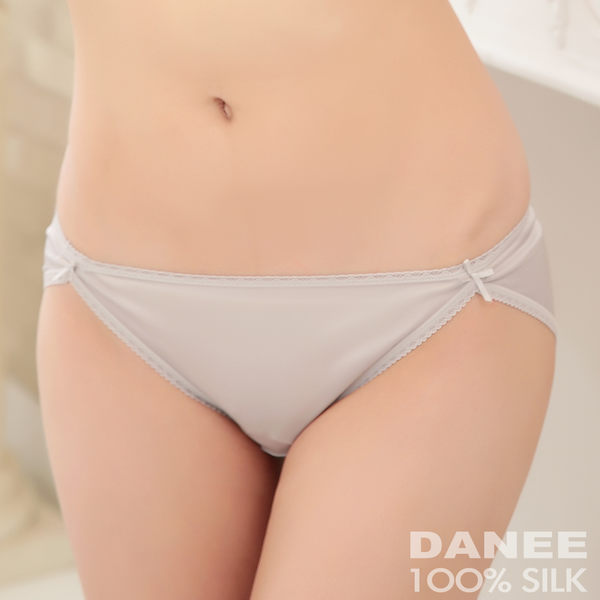 【岱妮蠶絲】LA0028E純蠶絲42針70G雙蝴蝶結低腰高衩內褲(銀灰)