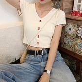 網紅上衣2020新款v領短袖冰絲針織衫修身短款露臍心機t恤女小眾潮