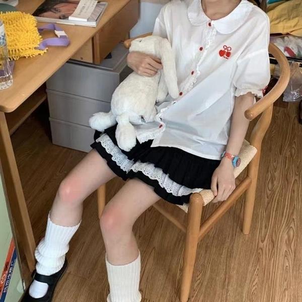 日系短裙女學生韓版a字百褶半身裙夏高腰褲裙防走光蕾絲蛋糕裙子
