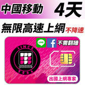 【TPHONE上網專家】 中國移動 4天無限4G高速上網 不降速 不須翻牆 FB/LINE直接用