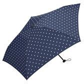 日本KIU 34019  藍底白點 空氣感摺疊雨傘/抗UV陽傘 附收納袋(男女適用)