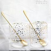 咖啡杯 韓版金色透明簡約咖啡杯 對杯加厚耐熱玻璃水杯 可愛情侶星星杯子 麥琪精品屋