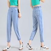 今年流行天絲牛仔褲女夏季薄款直筒寬鬆新款鬆緊腰老爹褲子爆 蘇菲小店