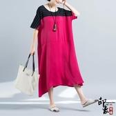 大尺碼洋裝原創文藝銅氨絲拼接寬鬆大尺碼女簡約大氣棉麻過膝連身裙