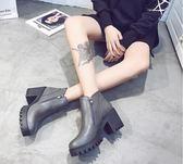 靴子秋冬季女靴子歐美英倫時尚馬丁靴短靴圓頭高跟粗跟防滑側拉鏈