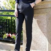 薄款休閒褲男士直筒小腳修身商務西褲長褲寬鬆黑色褲子男『小宅妮時尚』