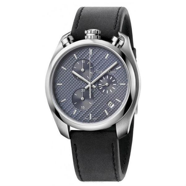 CK 雅致編織三眼計時皮革手錶 男士腕錶 瑞士ck手錶 男錶女錶對錶K6Z371C4