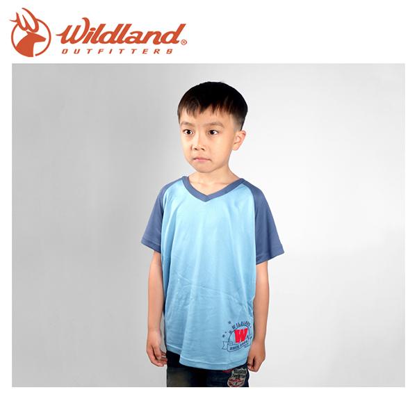 【Wildland 荒野 中童 椰碳繡花排汗衣 水藍】 71672-73/兒童短袖/排汗衣