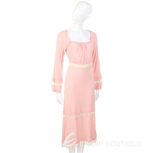 AAMILANO 粉紅色拼接蕾絲設計長袖洋裝 0520990-05