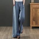 文藝棉麻女裝夏季闊腿長褲寬鬆緊高腰大碼顯瘦抽繩亞麻直筒休閒褲 果果輕時尚