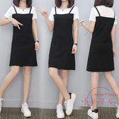 (低價促銷)背帶裙女夏季新款正韓中長版吊帶假兩件套裙子黑色連身裙 洋裝女裝