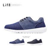 MIT。格紋織布。除臭鞋墊。異材質太空運動鞋-藍色【09492】