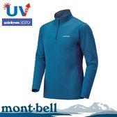 【Mont-Bell 日本 男 WICKRON ZEO 長袖半門襟《藍》】1104940/高領長袖/防曬長袖/快乾排汗