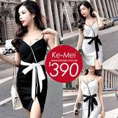 克妹Ke-Mei【AT51345】Desing超強設計感小香蝴蝶結V美胸連身洋裝