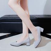 粗跟單鞋女新款四季復古亮片3-5厘米中跟尖頭高跟鞋工作鞋 【販衣小築】