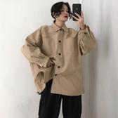 春季韓版中長款BF風復古工裝襯衣學生寬鬆風衣休閒襯衫上衣外套女