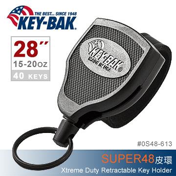 美國KEY BAK SUPER48 Xtreme Duty 28 伸縮鑰匙圈(皮環款)#0S48-613【AH31054】i-Style居家生活