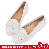 HELLO KITTY X Ann' S 牛皮蝴蝶結柔軟便鞋-白