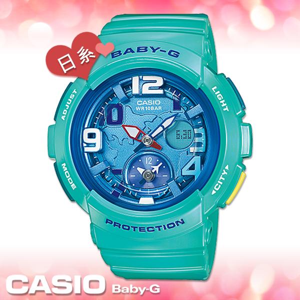 CASIO卡西歐 手錶專賣店 G-SHOCK BGA-190-3BJF 女錶 綠 日版 地圖錶盤設計 防水100米 橡膠錶帶
