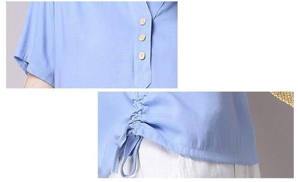 ☆莎lala (5折商品) 【Y606076 】日森系寬鬆短袖上衣-(現)棉麻休閒T恤(SIZE:M~XXL)