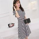 春夏新款大碼韓版短袖連衣裙女時尚百搭顯瘦條紋打底裙 0037H  彼得麗絲