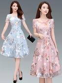 雪紡洋裝夏季中年婦女裝40-50歲45短袖女人夏天裙子媽媽夏裝雪紡連身裙30 suger
