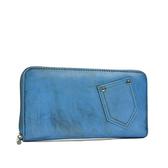 阿卡天使真皮復古率性口袋造型拉鍊錢夾(多色)墨水藍W794-BL