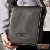 Roberta Colum - 時尚質感鉚釘軟牛皮實用長方形斜背包-咖色