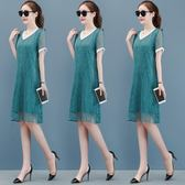 洋裝-款夏季洋氣寬松胖mm大碼法式遮肚連身裙顯瘦減齡闊太太雪紡裙 Korea時尚記